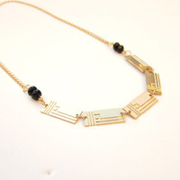 Loren. Handmade geometric ,24k gold plated and beads , Wedding, Brides, Necklace.