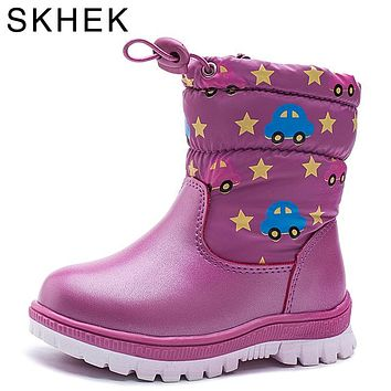 SKHEK Winter Kids Boots Warm plush Candy color Waterproof Children trainers Snow Boots Kids shoes Boys Girls Fashion Shoes