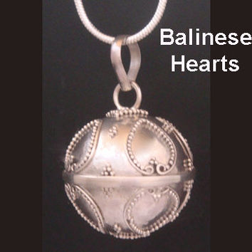 Harmony Ball Necklace, Bola Necklace 355 with Balinese Heart Motifs in 925 Sterling Silver | Angel Caller, Baby Shower Gift, Pregnancy Gift