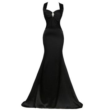 Black Cross Satin Long Evening Dress New arrival Formal Dresses back Halter Prom Dress Sexy Long Party Gowns
