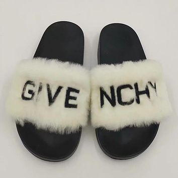 Givenchy Women Fashion Fur Slipper Flats Shoes