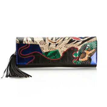 SAINT LAURENT LEATHER PANTHER-PRINTED CLUTCH