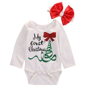 Newborn Baby Girl Long Sleeve Romper Jumpsuit My First Christmas Bownot Head Band Outfits Clothes