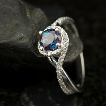 Matching Ring Set - Kara Beth, Alexandrite and Diamond Engagement Ring with Matching Diamond Wedding Band