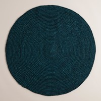 Teal Round Braided Jute Area Rug - World Market