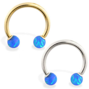 14K Real Gold Horseshoe/Circular Barbell With Blue Opal Balls