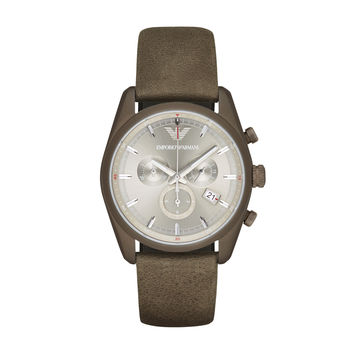 ARMANI WATCH TERRA TONES MEN SPORT LEATHER NEW TAZIO STAINLESS STEEL AR6076