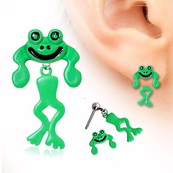 Two-Piece Frog Dangle Cartilage Earring