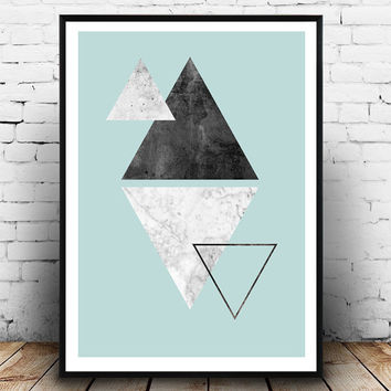 Tirangle abstract, Watercolor abstract, geometric print, Scandinavian design, marble texture, tirangles print, turquoise home decor