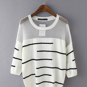 Mesh Accent Striped Short Sleeve Top