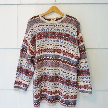 90s Vintage Multi Colored Patterned Sweater