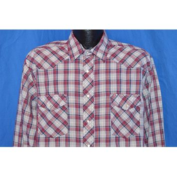 80s Rustler Red Black White Plaid Pearl Snap Shirt Extra Large