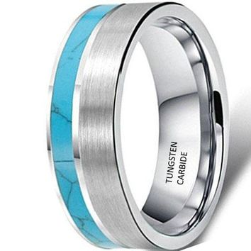 CERTIFIED 8mm Tungsten Turquoise Vintage Wedding Engagement Ring Band  Matte Finish
