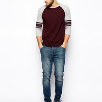 ASOS 3/4 Sleeve T-Shirt With Contrast Stripe Sleeve - Burgundy/gray ma