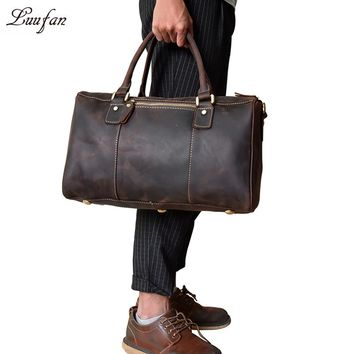 Crazy Horse Leather Men Travel Bag Vintage Genuine cowhide leather travel duffel bags weekend luggage bag overnight