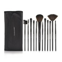 Roll up Case Cosmetic Brushes Kit 12/15 PCS Cosmetic Brush Set with Pouch Pro Wooden Handle Makeup Brush Tool (12pcs black)