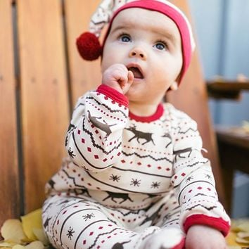 Organic Holiday Overall & Cap Set by L'oved Baby