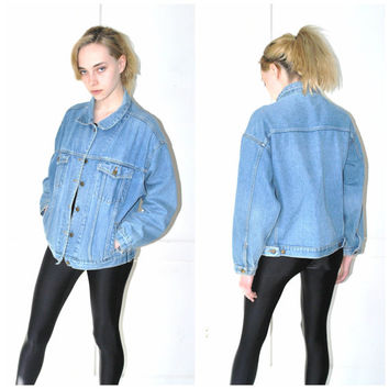 light wash DENIM jacket vintage 80s 90s GRUNGE pale faded OVERSIZED relaxed fit unisex jean coat os large