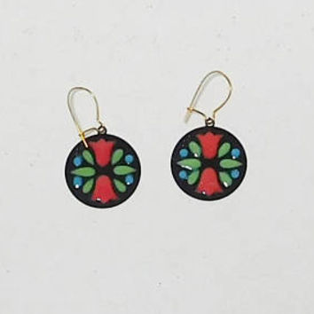 Flower Earrings, Tulips, Round, Stained Glass Look, Never Worn, Vintage, Costume Jewelry