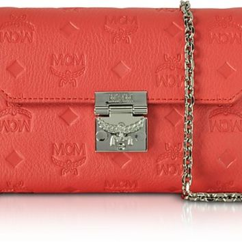 MCM Millie Marigold Orange Monogrammed Leather Small Flap Crossbody Bag