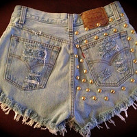 High waist destroyed denim shorts super frayed and studs 28-29 S/M