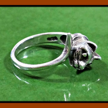 Vintage Sterling Silver Cat Ring Head to Tail Band Great Detail! Small Ring Size 4.5 Pinky Ring? Or Wear it on Necklace Chain Slide Pendant