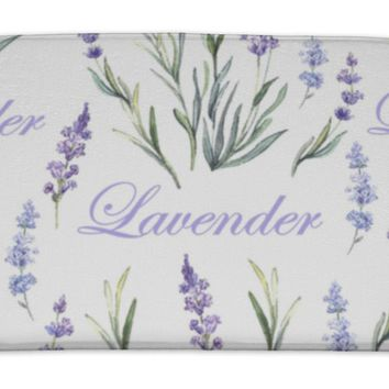 Bath Mat, Watercolor Lavender Botanical Pattern