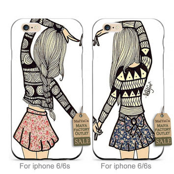 soft black tpu siliconeHeart Matching BFF Best Friends Besties  Fashion couple phone case cover For iPhone se 5s 6s 7 plus case