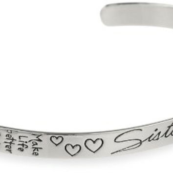 "Sterling Silver ""Sisters, Make Life Better, Forever Friends"" Cuff Bracelet"