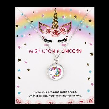 Hot Sale Glass Dome Cabochon Pendant Friendship Statement Big Sister Middle Little Sisters Unicorn Necklaces for Women