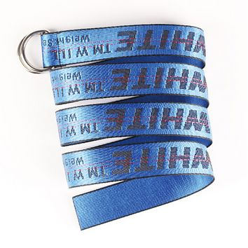 Off White New fashion more letter print canvas couple belt length 130 cm Blue