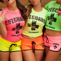 Juniors Neon Lifeguard T Shirt