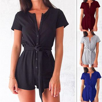 Casual sexy button straps jumpsuit women's clothing
