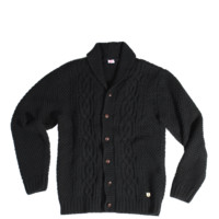 Wool/Alpaca Cable Knit Cardigan - Black