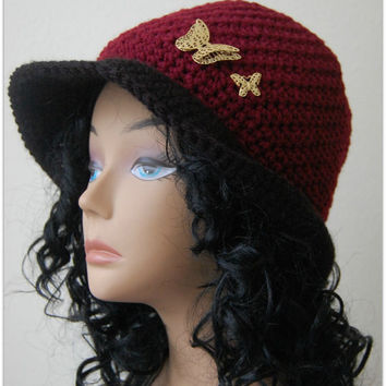 Women Cloche Hat - Burgundy handmade crochet hat - crochet hat with butterfly charm - READY TO SHIP - gift item for her