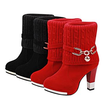Autumn Winter Women Boots Fashion Knitting Line Casual Ladies Shoes Plush Martin Boots Suede Buckle Boots High Heeled Snow Boot