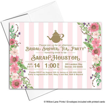 spring bridal shower invitation | garden party invitation | tea party birthday invitation | floral wedding shower invites - WLP00608