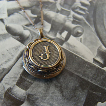 Letter J Locket Necklace, Or Choose Any Letter - Made with Antiqued Brass