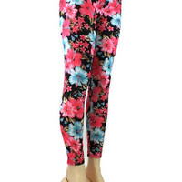 Tropical Blue & Pink Flower Print Leggings