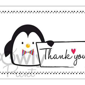 Printable Penguin Thank You Card. Ready to print Thank You Card. Penguin Thank You print,