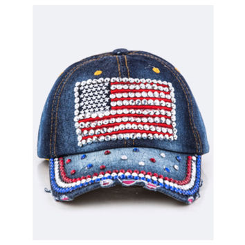 """""""American Pride"""" Red White and Blue Flag Denim Hat"""