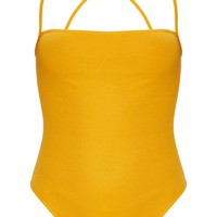 Mustard Rib Strappy Back Thong Bodysuit