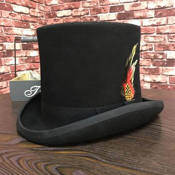 Black Men Woolen Fedora Hat Flat Mad Hatter Top Hat Traditional President Party Hat Steampunk Magic Hat with feather
