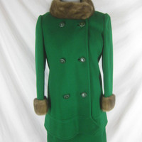 Designer 1950s 1960s Jackie O Vintage George Richards Christmas Green Cocktail Dress Mink Princess Coat Set