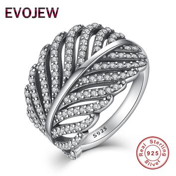 Valentine's Day Gift Authentic 100% 925 Sterling Silver Ring for Women Dazzling CZ Radiant Feather Wedding Rings Fashion Jewelry