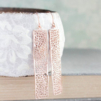 Rose Gold Earrings Long Lace Filigree Modern Dangle Pink Gold Bridal Jewelry Bridesmaids Gift For Girlfriend Minimalist Unique Geometric