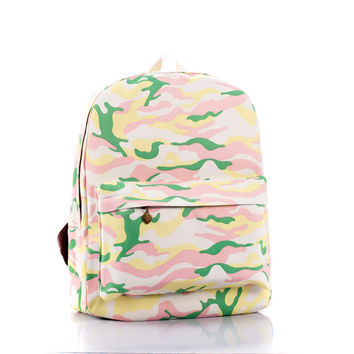 Pink Canvas Fashion Star Camouflage Stylish Backpack = 4887987460