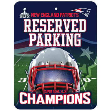 New England Patriots - Super Bowl 49 Champions Helmet & Field Collage Reserved Parking Sign