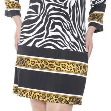 Plus Size Madelyn Print Dress Zebra Short Shift V Neck