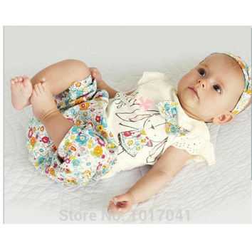 Summer cute baby girl clothes  floral t shirts + pants + headwear 3pcs suit newborn baby girl clothing set